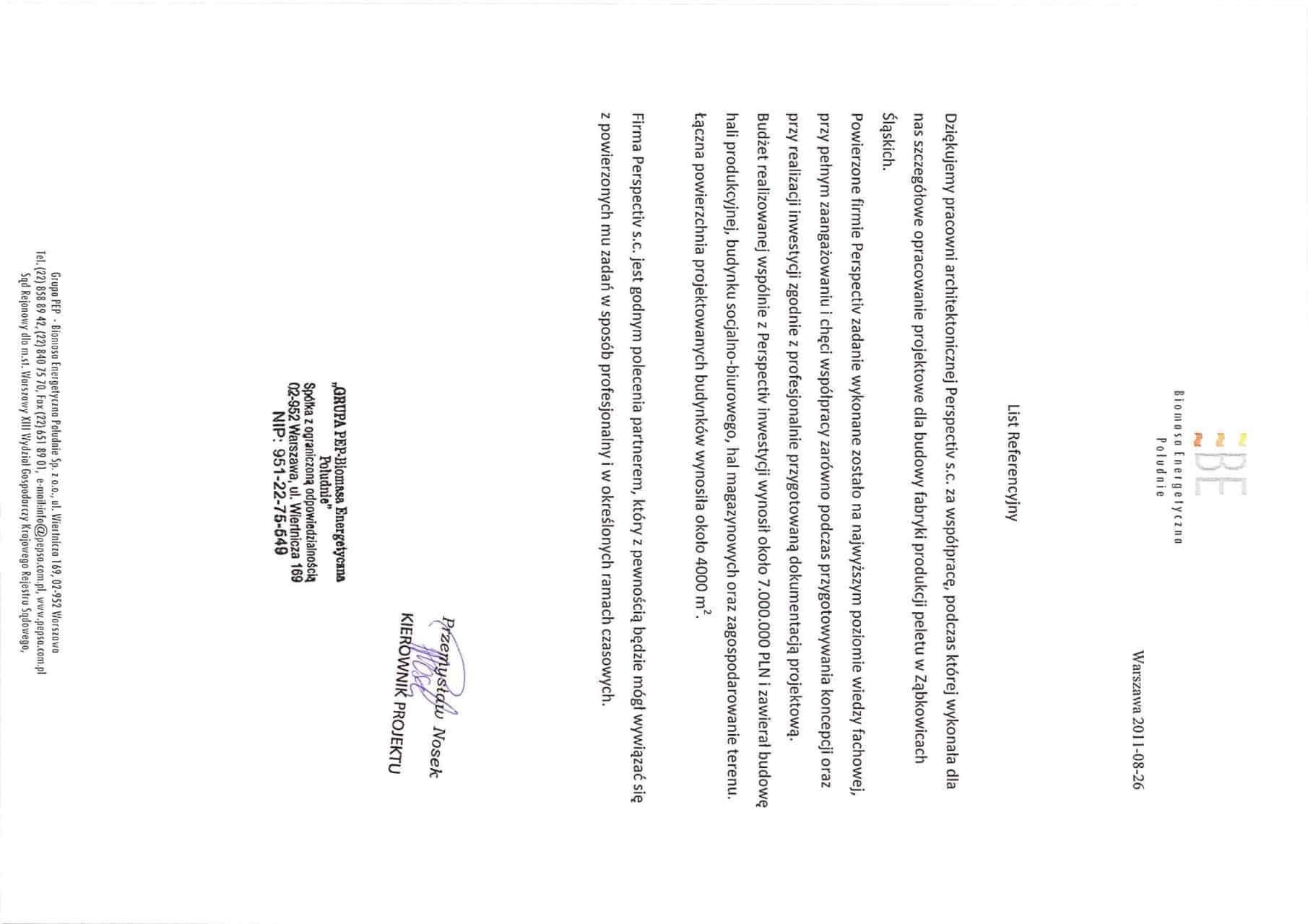 List Referencyjny PEP Biomasa - Ząbkowice